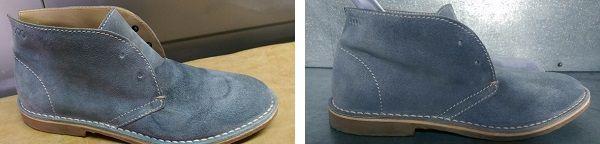 Замшевые ботинки до и после чистки