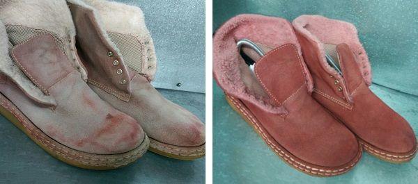 Ботинки зимние до и после чистки и окрашивания